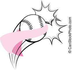 Softball Breast Cancer Pow - Vector illustration of a...