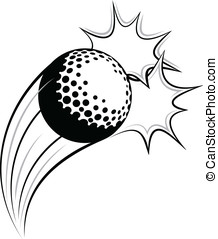 Golf Pow - Vector illustration of a golf swooping through...