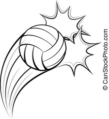 Volleyball Pow - Vector illustration of a volleyball...