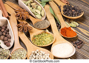 Different seasonings and spices in wooden spoons