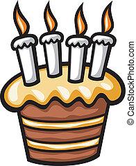 aniversário, bolo, velas