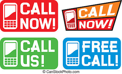 call now, call us and free call - call now label, call us...