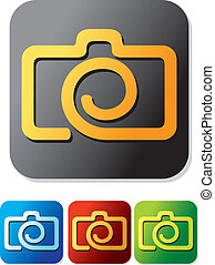 camera icon set compact digital camera, digital photo camera...