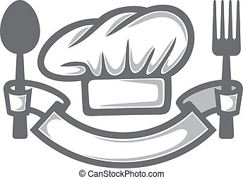 chef hat, fork and spoon (food icon, food symbol, restaurant...