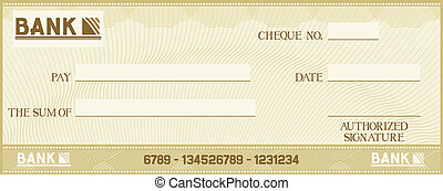 check with space for your own text bank cheque, bank cheque...