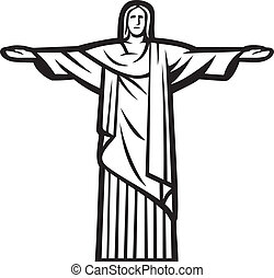 Christ the Redeemer statue - Stylized illustration of Jesus...
