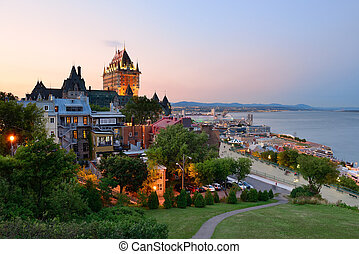Quebec City skyline with Chateau Frontenac at sunset viewed...