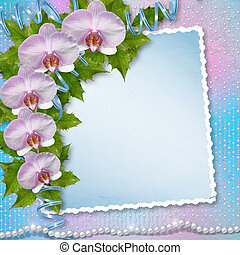 Greeting card with beautiful branch orchid and pearls for a...