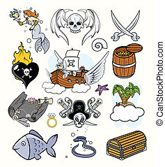 Pirates Vectors Set - Drawing Art of Cartoon Pirates...