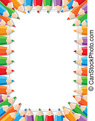 color pencils frame - illustration of a color pencils frame