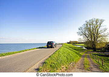 View at the IJsselmeer in the Netherlands - View in the...