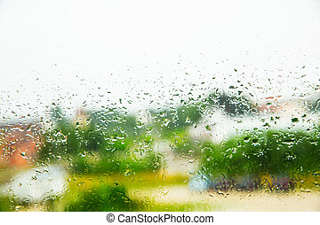 Rainy day	 - Rain drops on a Window.
