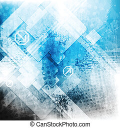 Vector blue tech grunge backdrop - Grunge hi-tech abstract...