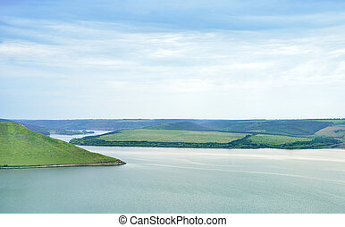 Beautiful river landscape and hills