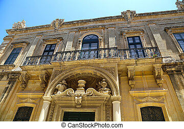 Historic Architecture in Mdina, Malta, southern Europe.