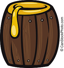 barrel of honey clip art cartoon illustration - Cartoon...