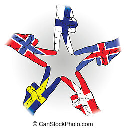Peace Sign of Scandinavian flags
