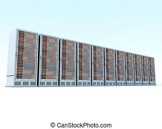 Server center - Server racks in a row. 3d illustration.