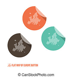 Map of Europe Button - Flat Design - Vector Illustration