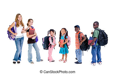 Diversity in School - A group young school kids diveristy in...