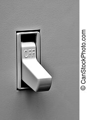 Light Switch in Off Position - Light switch on wall inside a...