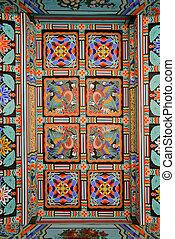 tradicional, patrón, coreano, techo