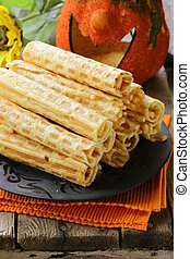 wafer rolls, dessert for Halloween holiday