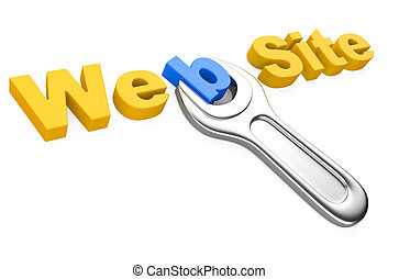 "Spanner and inscription ""Web site"" - web building. Website..."