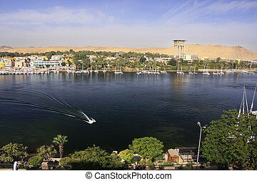 Boats on the Nile river, Aswan, Egypt