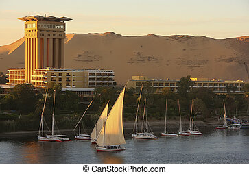 Boats on the Nile river, Aswan
