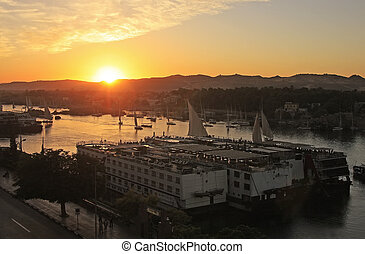 Sunset over the Nile river, Aswan, Egypt