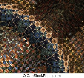 Quilt Arch Abstract - Collage of blocks with fractal design...