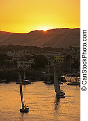 Felucca boats sailing on the Nile river at sunset, Aswan,...