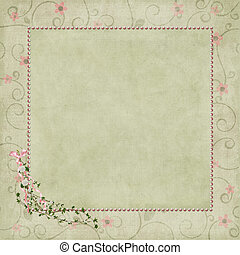 pearl frame on floral background