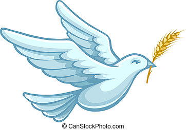 flying dove bird with wheat ear vector - flying dove bird...