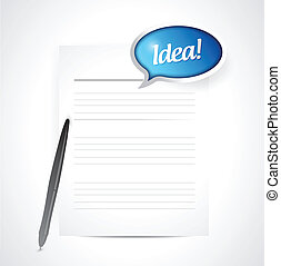 paper with an idea message illustration