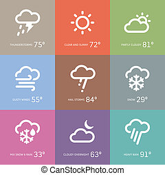 Weather icons - Set of weather and storm symbol icons