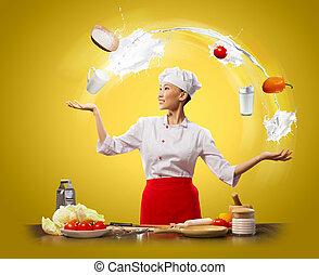 juggler female cook - juggler female asian cook against...
