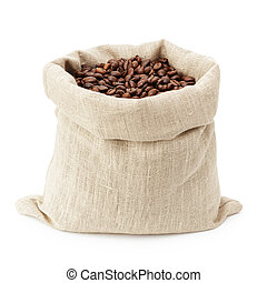 sack bag full of roated coffee beans, isolated on white