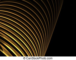Curving Gold Bands Abstract - Layered, curving bands of...