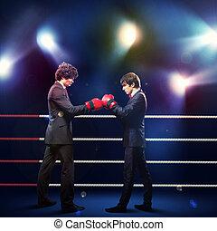 dois, jovem, homem negócios, boxe