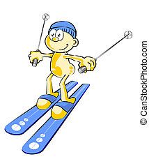 Funny skier - Conceptual illustration about skiing and...