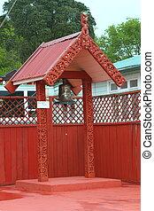 Maori house in Rotorua - Traditional Maori building in...