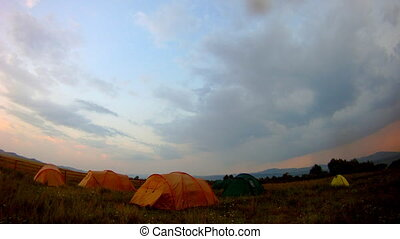 "tourist tent on nature sunset time lapse ""Khakassky""..."