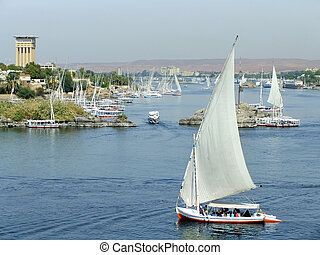 Felucca boats sailing on the Nile river, Aswan