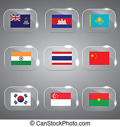 flags country flags glass flags set - Flags of the world...