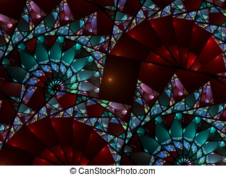 Stained Glass Fan Abstract - Beautiful, fanning stained...