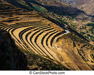 Terraces of Pisac in Urubamba valley near Cusco Peru
