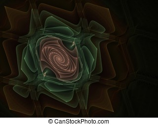 Fractal Abstact Background - Woven spiral design - Layered...
