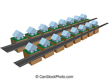 Rows of row houses on street blocks